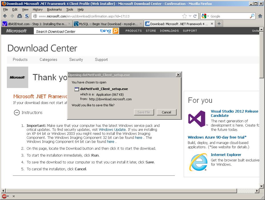 dBASEHost com - Step 1: Installing the mySQL 5 5 Database Server